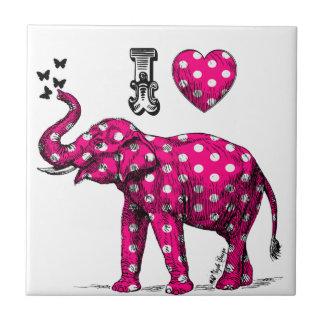 Elefante del lunar. Elefante rosado. Elefante Azulejos Cerámicos