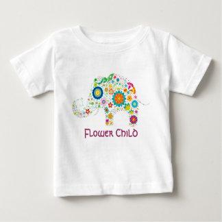 Elefante del niño de flor - camisa del bebé