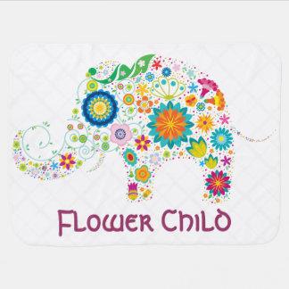 Elefante del niño de flor - manta del bebé mantas de bebé