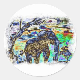Elefante del Nublar-Color Pegatina Redonda