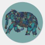 Elefante del ónix pegatina redonda
