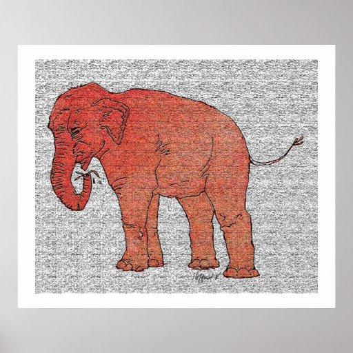 Elefante del parque zoológico póster