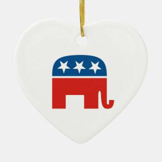 elefante del Partido Republicano de los Estados Adorno Navideño De Cerámica En Forma De Corazón