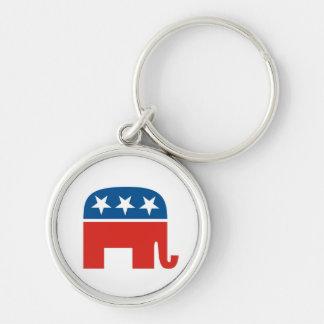 elefante del Partido Republicano de los Estados Un Llavero Redondo Plateado