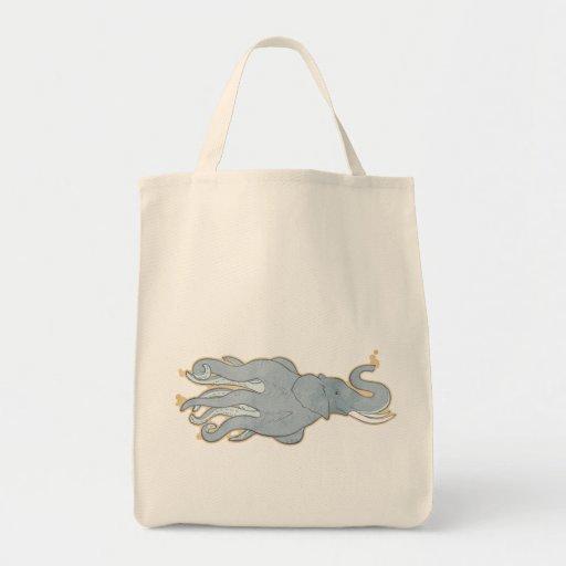 Elefante del pulpo del vintage bolsa tela para la compra