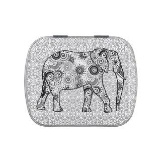 Elefante del remolino del fractal - gris, blanco y frascos de dulces
