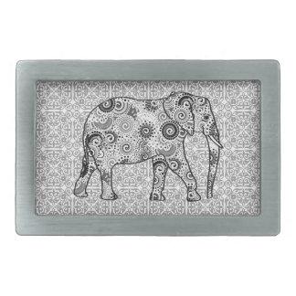 Elefante del remolino del fractal - gris, blanco y hebillas cinturon rectangulares