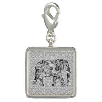 Elefante del remolino del fractal - gris, blanco y dije con foto