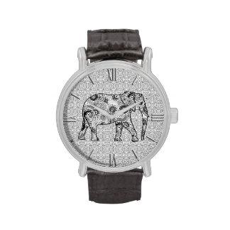 Elefante del remolino del fractal - gris, blanco y reloj de mano