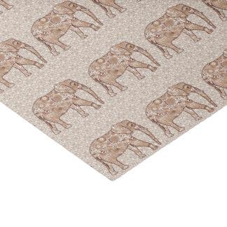 Elefante del remolino del fractal - marrón y de papel de seda pequeño