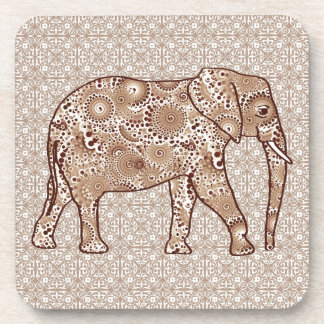 Elefante del remolino del fractal - marrón y de posavasos de bebidas