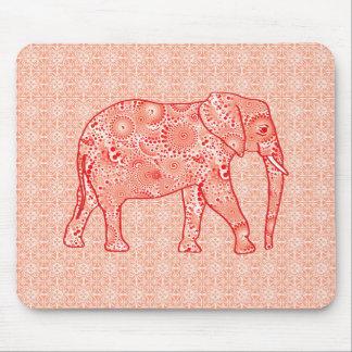 Elefante del remolino del fractal - naranja mousepad