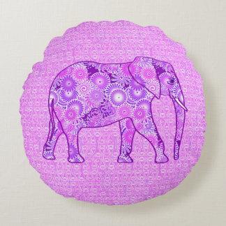 Elefante del remolino del fractal - púrpura y cojín redondo