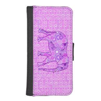 Elefante del remolino del fractal - púrpura y fundas billetera de iPhone 5
