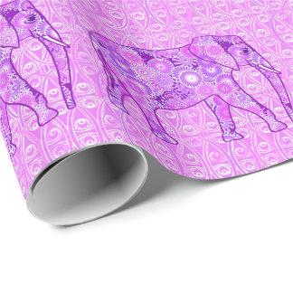 Elefante del remolino del fractal - púrpura y papel de regalo