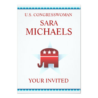 Elefante del republicano de la plantilla de la invitación 12,7 x 17,8 cm