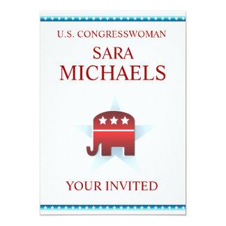 """Elefante del republicano de la plantilla de la invitación 5"""" x 7"""""""