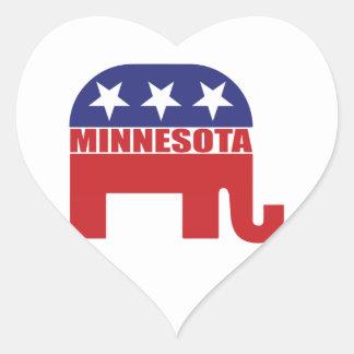 Elefante del republicano de Minnesota Pegatina En Forma De Corazón