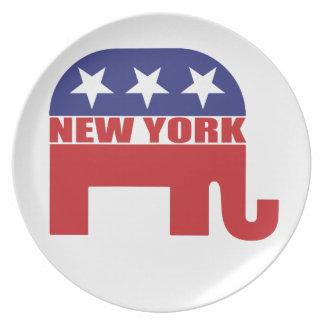 Elefante del republicano de Nueva York Platos De Comidas