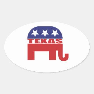 Elefante del republicano de Tejas Pegatina Ovalada
