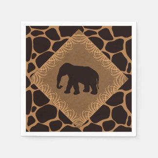 Elefante del tema del safari sobre estampado de servilleta de papel