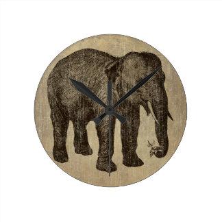 Elefante del vintage reloj redondo mediano