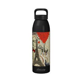 Elefante del vintage y globos rojos del corazón botellas de agua reutilizables