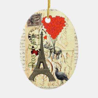 Elefante del vintage y globos rojos del corazón adorno ovalado de cerámica