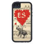 Elefante del vintage y globos rojos del corazón iPhone 5 protector