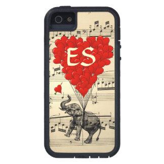 Elefante del vintage y globos rojos del corazón iPhone 5 carcasa
