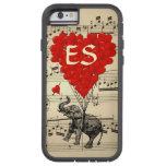 Elefante del vintage y globos rojos del corazón funda de iPhone 6 tough xtreme