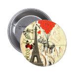 Elefante del vintage y globos rojos del corazón pin