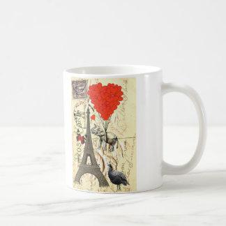 Elefante del vintage y globos rojos del corazón tazas de café