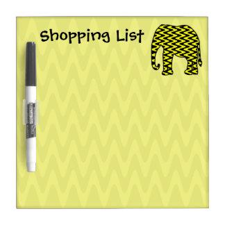 Elefante del zigzag de la lista de compras pizarra