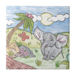 Elefante dibujado AdorableHand del bebé Azulejo Cuadrado Pequeño