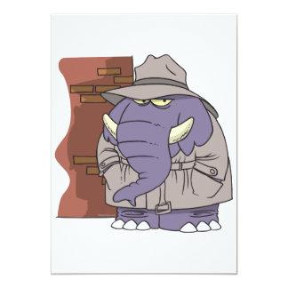 Elefante disimulado del espía del detective invitación 12,7 x 17,8 cm