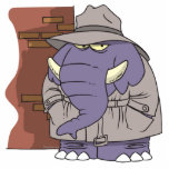 Elefante disimulado del espía del detective privad escultura fotografica