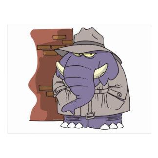 Elefante disimulado del espía del detective privad tarjeta postal