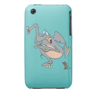 elefante divertido asustado de dibujo animado del iPhone 3 protectores
