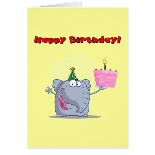 Elefante divertido con feliz cumpleaños de la tort tarjeta de felicitación