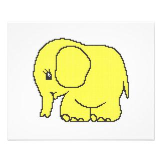 """Elefante divertido del amarillo del punto de cruz folleto 4.5"""" x 5.6"""""""