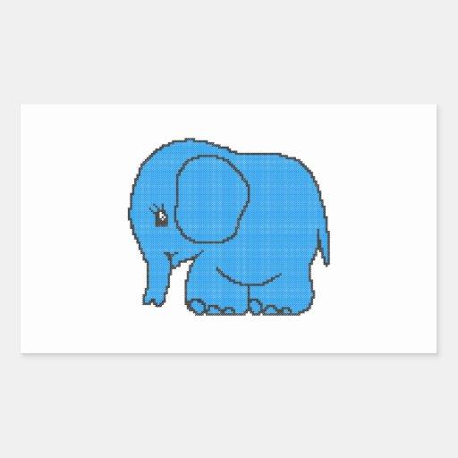 Elefante divertido del azul del punto de cruz pegatina rectangular