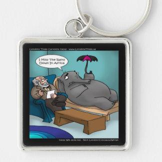 Elefante divertido en terapia llavero personalizado