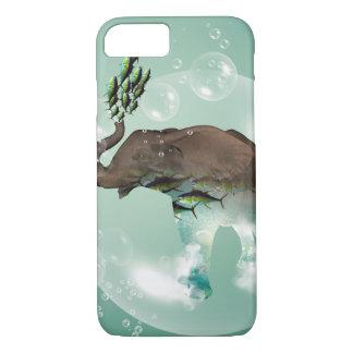 Elefante divertido en una burbuja con los pescados funda iPhone 7