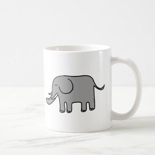 Elefante divertido taza básica blanca