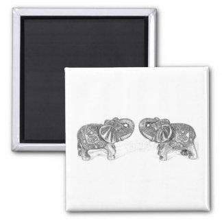 Elefante doble de Feng Shui - B&W Imán Cuadrado
