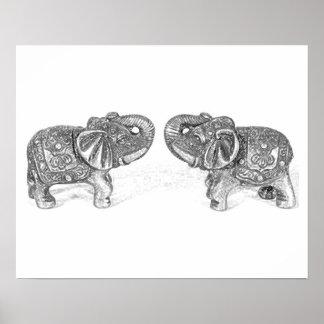 Elefante doble de Feng Shui - B&W Póster