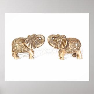 Elefante doble de Feng Shui Póster