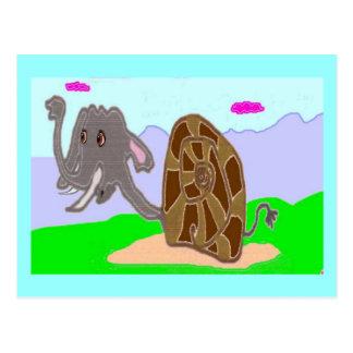 Elefante Doris del caracol Tarjetas Postales