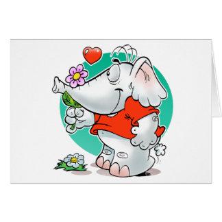 elefante dulce de los amoríos con la flor tarjetas